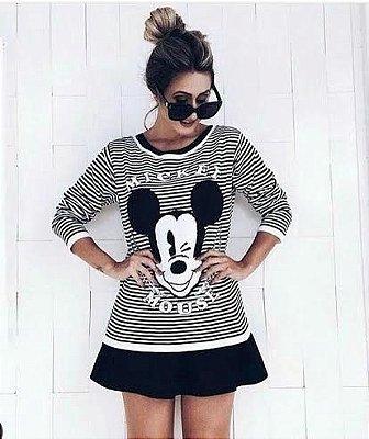 Blusa de Tricot  Mickey | Listras [ Preto e Branco ]