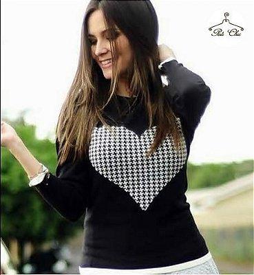 Blusa de Tricot Coração || Pied Poule [ Tweed ] Preta e Off White - Tamanho Único