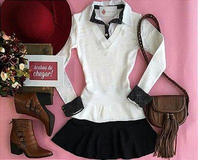 Suéter de tricot com Gola e Punho de Camisa || Branco e Preto
