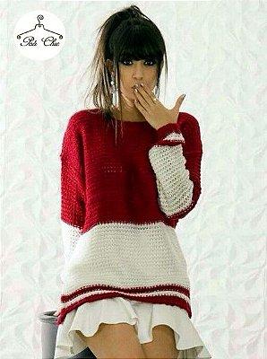 Blusa de Tricot Gabriela [ Levemente Furadinha ] Preto e Branco + Vermelho e Off White