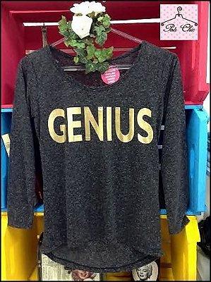 T-shirt Genius { Cinza + Dourado ] Manga Longa || Petit Rosè