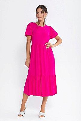 Vestido Midi Viscolycra Manga Curta | Pink e Preto