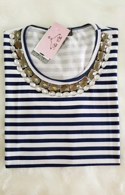 T-shirt  Listras - Stripes [ Azul + Branco ] Bordada | Manga Curta