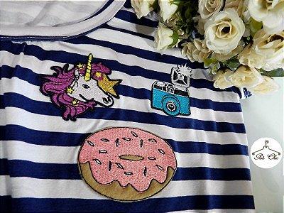 T-shirt  Listras || Stripes [ Azul + Branco ] Patches {{ Manga Curta }}