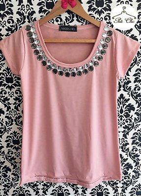 T-shirt Rosa [ Clarinha ] Bordada || Manga Curta