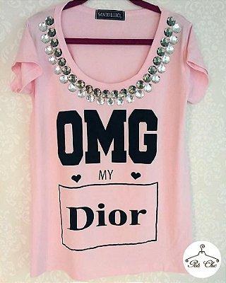 T-shirt OMG My Dior {{ Rosa }}  Bordada || Manga Curta