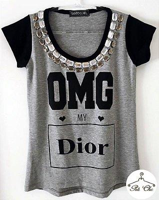 T-shirt OMG My Dior {{ Cinza / Manga Preta }} Bordada || Manga Curta
