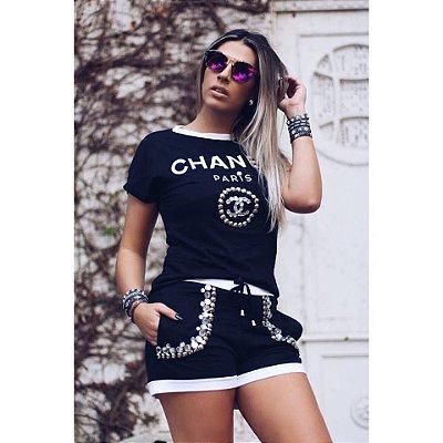 Conjunto Chanel [ Bordado ] Preto & Branco