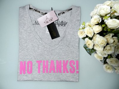 T-shirt No Thanks! { Cinza + Pink }