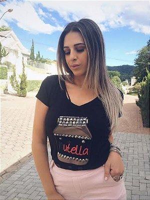 T-shirt Nutella Milk || Preta [ Bordada ]