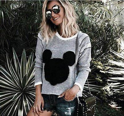 Blusa de Tricot Mickey | Cor: Areia + Preto