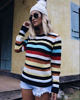 Blusa de Tricot Multicores { Cor: Nude } Listras | Stripes