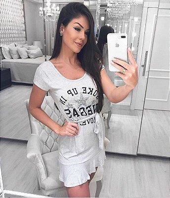 Vestido Woke Up In Vegas Lovely | Estrelas [ Cinza Mescla Claro e Escuro ]