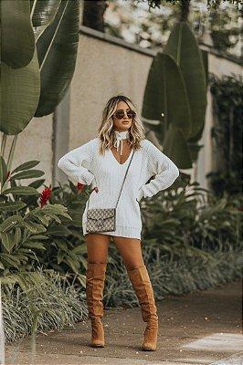 Blusa de Tricot Choker | Branca