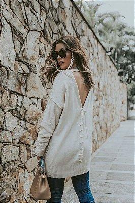 Blusa de Tricot Aberta nas Costas | Cores: Off White e Preta