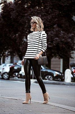 Blusa de Tricot Listras | Stripes - Preto e Branco