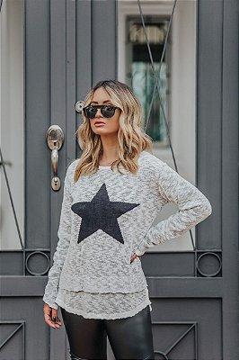 Blusa de Tricot Estrela | Cores: Pérola com Preto e Preto com Branco