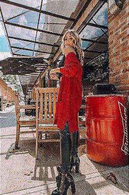 Casaco de Tricot Flamê com Bolso | Cores: Vermelho, Preto e Off White