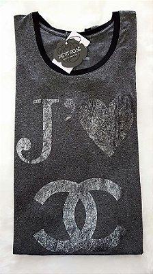 T-shirt Je t'aime Cinza | Detalhes na manga e gola em preto [ Petit Rosè ]