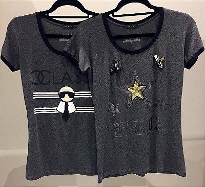 T-shirt Karlito Cinza Mescla com detalhes em preto | Petit Rosè