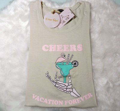 T-shirt Flamingo Cheers Vacation Forever | Cor: Areia - Petit Rosè