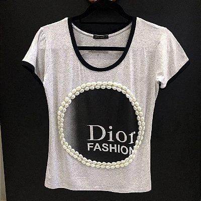 T-shirt Dior Fashion Cinza Mescla | Bordada: Pérolas - Petit Rosè