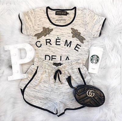 Conjunto Crème De La Crème Cinza Bordado | Petit Rosè