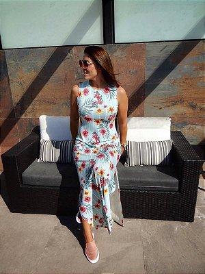 Vestido Longo Floral + Listras Azul | Fendas Laterais