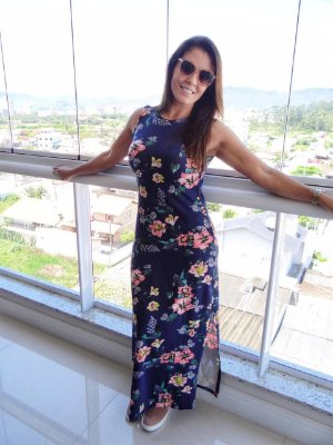 Vestido Longo Floral Azul | Fendas Laterais