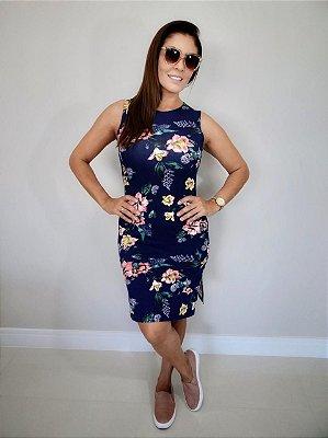 Vestido Midi Floral Azul | Fendas Laterais
