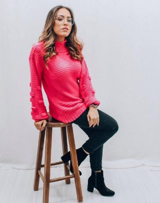 Blusa de Tricot Rosa Neon | Golinha