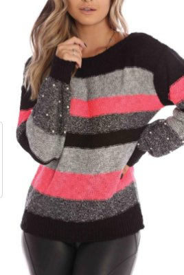 Blusa de Tricot Listrada Pérola | Preto, Cinza e Pink [ Manga Longa ]