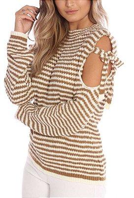 Blusa de Tricot Listrada Ombro Vazado | Off White e Marrom