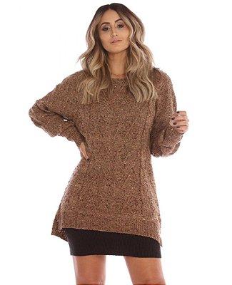 Blusão ou Vestido de Tricot Marrom