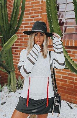 Blusa de Tricot Listras | Off White Preto e com Cordão Neon