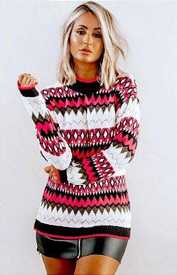 Blusa de Tricot Étnica | Pink Neon