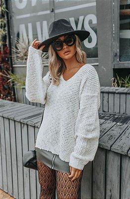 Blusa de Tricot Lurex Off White | Decote V