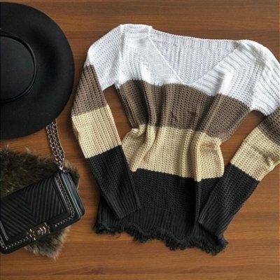 Blusa de Tricot Listras 4 cores Desfiada | Branco Caqui Areia Preto