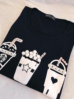 T-shirt Preta Coffee | Bordada - Manga Longa