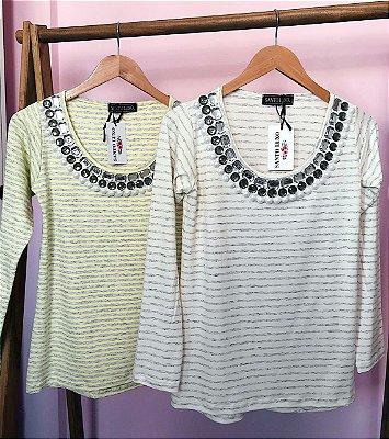 T-shirt Listras Off White e Cinza | Bordada à mão com Pérolas