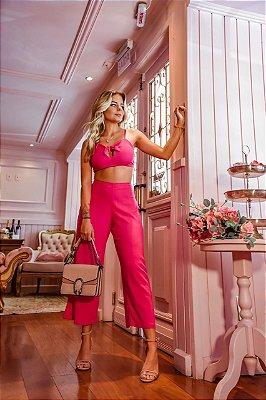 Conjunto Pink: Calça Pantacourt + Top | Linho - In Love