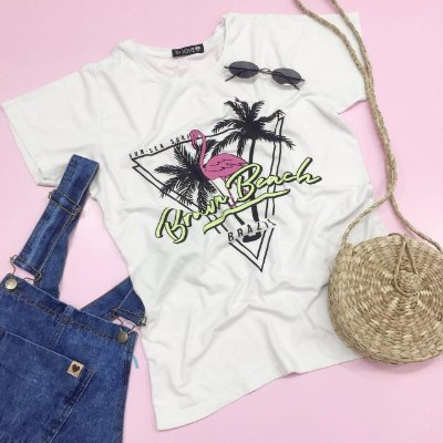 T-shirt Brava Beach Brazil - Flamingo | Cor Branca - In Love