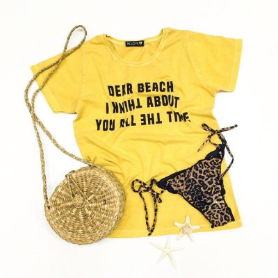 T-shirt Dear Beach | Cor Amarelo - In Love
