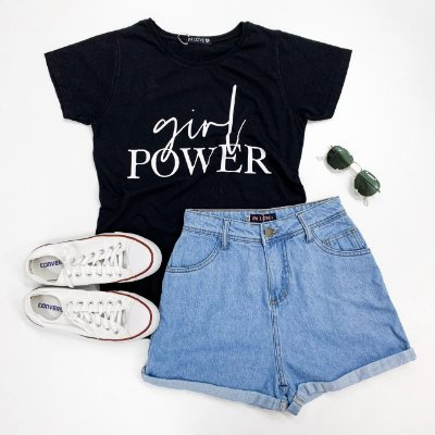 T-shirt Girl Power - Preta | In Love