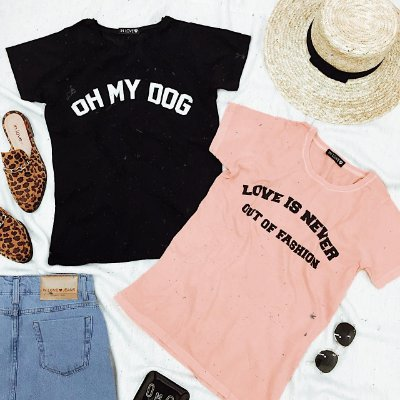 T-shirt Oh My Dog - Preta | In Love