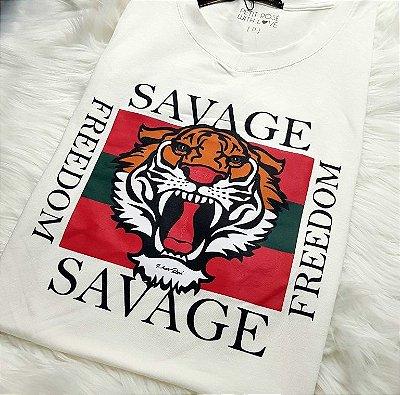 T-shirt Savage - Cores: Off White e Cinza | Petit Rosè