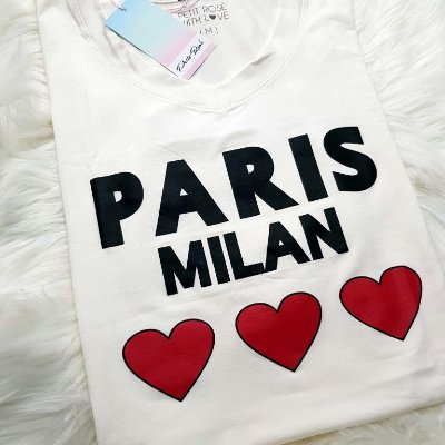 T-shirt Paris Milan - Off White | Petit Rosè