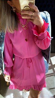 Vestido Gola Alta Pink | Petit Rosè