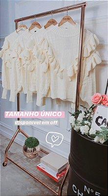Blusa de Tricot Babados Off White | Petit Rosè