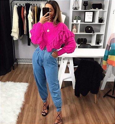 Blusa de Tricot Babados Pink | Petit Rosè